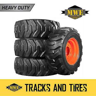 Set: 12x16.5 12 Ply Heavy Duty R-4 Xtra Wall Skid Steer Tires - Choose Rim Color