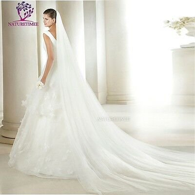 Bride Bridal Wedding Veil 3M New White  Cathedral Tulle Dress Double Layer