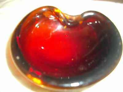 Small Deep Red Glass Dish