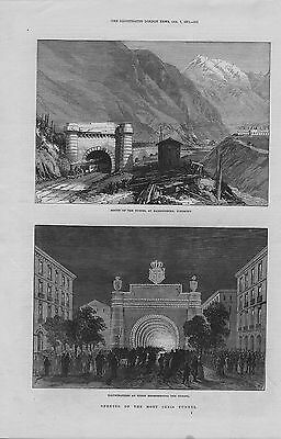 1871 original  illustration titled : mouth of the tunnel at bardonneche piedmont