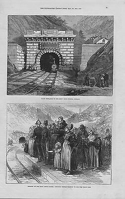 1871 original  illustration titled : north entrance to the mont cenis tunnel