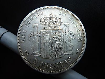 1892 Spain Espana 5 Peseta Large Silver Coin