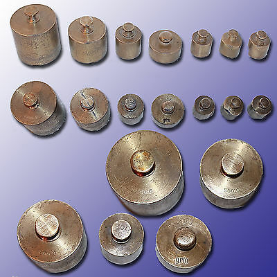 Set Of 7 Piece Brass Balance Scale Counter Weights From 1000 Grams To 100 Grams