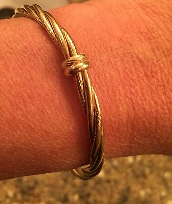 """14K Yellow Gold 12.55 Grams Cable Barbed Wire Bangle 7.5"""" EUC Bracelet"""