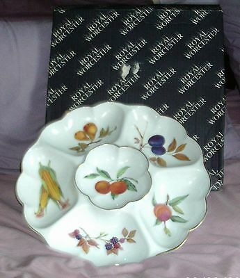 "Beautiful Royal Worcester ""Evesham"" Party Dips  Dish (Boxed)"