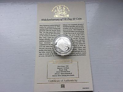 1995 VE Day £2 silver proof coin with c.o.a