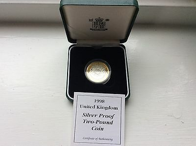 1998 £2 silver proof coin with c.o.a in presentation box