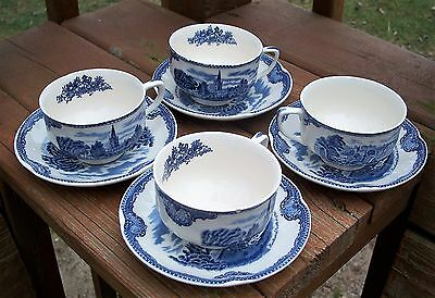 4 LOT Johnson Brothers OLD BRITAIN CASTLES BLUE (MADE IN ENGLAND) Cup & SaucerS