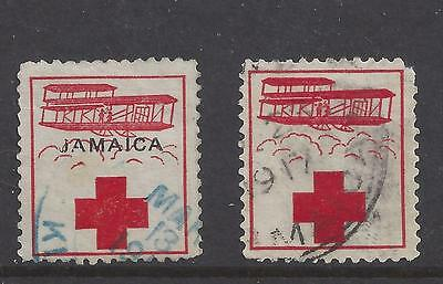 Jamaica WWI Charity Labels, Biplane and Red Cross, Postal Cancels