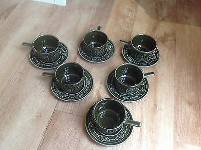 Set Of 6 TAMS Olive Green Soup Bowls And plates.