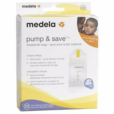 Medela Pump and Save Breastmilk Bags 20 Count, New /office