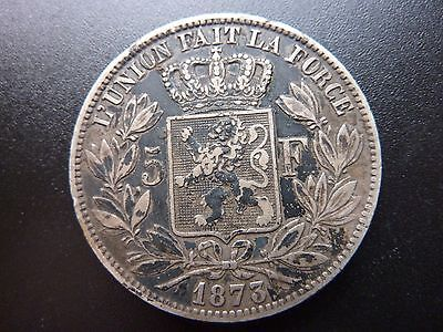 Belgium 1873 Five 5 Franc Large Crown Size Silver Coin
