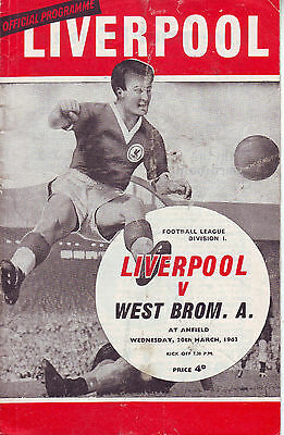 Liverpool V West Bromwich Albion 20 March 1963 Vgc