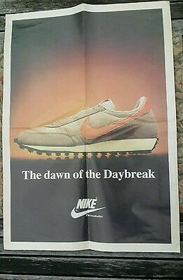 Vintage 1980's large shop Nike poster The Dawn of the Daybreak The Treadsetter