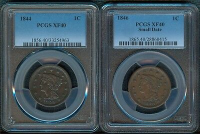 1844 & 1846 Large Cents PCGS XF40