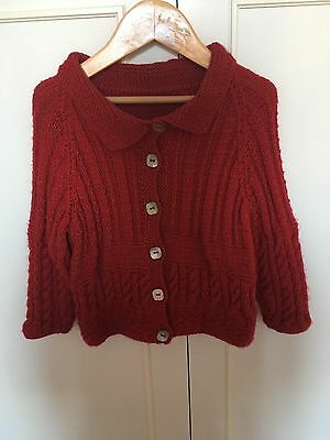 Girls Red Hand Knitted Cardigan 2-3 Years