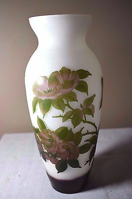 Galle Style Art Nouveau Cameo Glass Vase with Mauve Cherokee Roses Beautiful!!