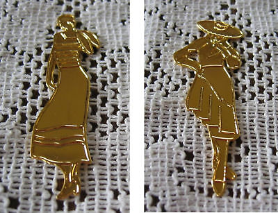 PENDANT - GOLDEN Brass  1 lady with scarf Create Cards or necklaces