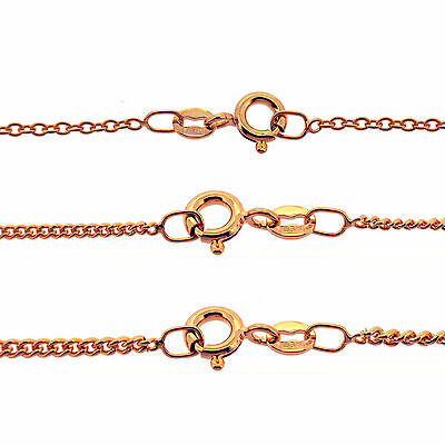 """9CT Rose Gold Plated Italian Trace & Curb Chain Necklace 16 to 40"""" various sizes"""