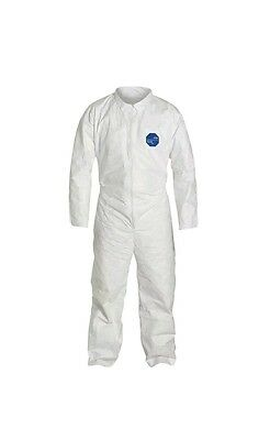 (25 PK) DUPONT TY120S White Tyvek Disposable Coverall Open Cuff size 4XL