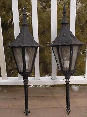 "Pair Vintage Cast Iron Mid Century Outdoor Coach Sconce Lights 30"" Tall"