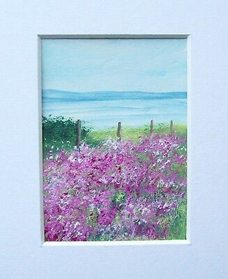 Original Pink Flowered Field Landscape Miniature Aceo Painting