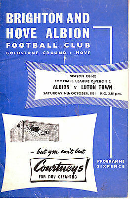 BRIGHTON and HOVE ALBION V LUTON TOWN 14 OCTOBER 1961 VGC