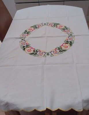 """Vintage White Linen And Hand Embroidered Floral Tablecloth ~ 51"""" X 50"""""""