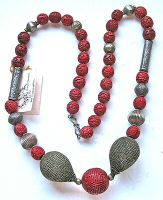 Spectacular Old Asian Necklace Of Carved Cinnabar And Antique Silver Beads