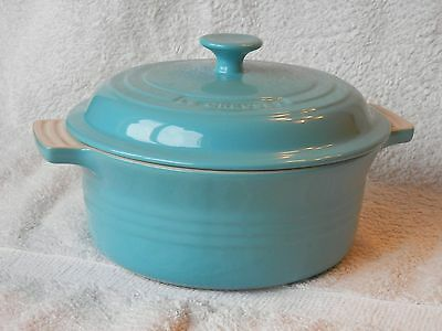 Le Creuset Stoneware, large Casserole with Lid, 21cm, Teal/Caribbean Blue, BNWT