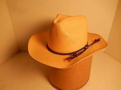 Vintage Stetson Straw Shantung Western Style Cowboy Hat