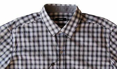 NWT $175 BOSS Hugo Boss Robbie Mens Sharp Fit Blue Cotton Dress Shirt L