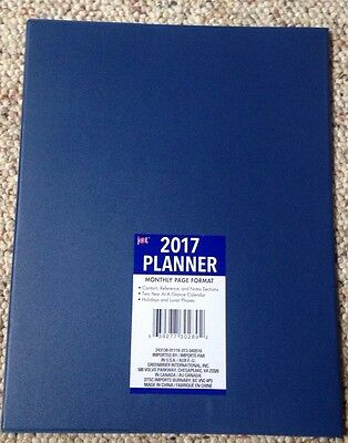 """2017 Blue Daily Monthly Planner Calendar • New 8"""" X 10"""""""