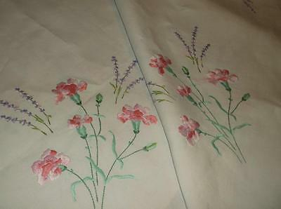 ~Vintage TABLECLOTH~ Linen With Carnation & Lavender Flower Embroidery