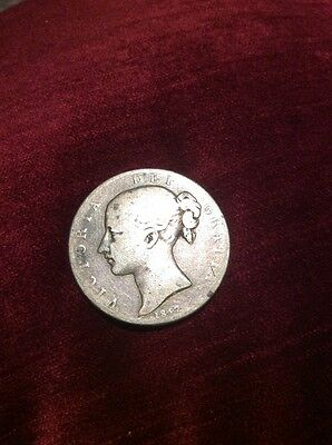 1847 Full Crown, British Silver Coin Young Victoria