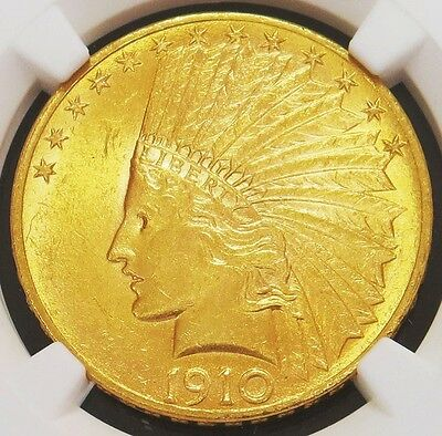 1910 Gold United States $10 Indian Head Eagle Coin Ngc About Uncirculated 58