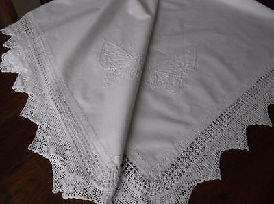 ~Vintage TABLECLOTH~ White Cotton With White Butterfly Emb. & Crochet Lace ~