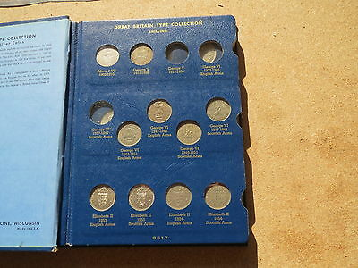 Great Britain Silver Type Set Whitman Album used some come coins 20 coins,1