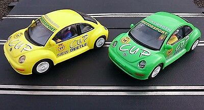 2 x SCALEXTRIC ADAC VW BEETLE CUP cars - Good working condition