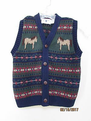 boys size 5/6 Kitestrings Sweater Vest Button Front HORSE Navy Green REd Easter