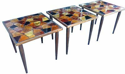 Rare Set Of 3 Vintage 1960's Georges Briard Style Mosaic Glass Tables