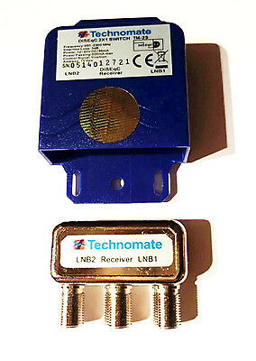 TECHNOMATE 2 Way Diseqc Switch TM-2S Satellite Dish Switcher LNB