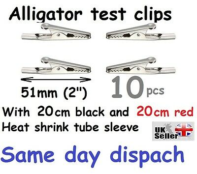 10 x Stainless Steel Alligator Crocodile Test Charger Clips Cable Lead Probe UK