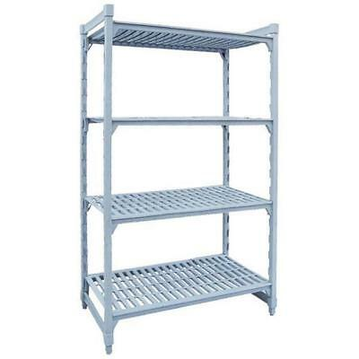 Shelving Kit with Vented Shelves, 4 Tier, Poly Coated Steel, 910x455x1800mm