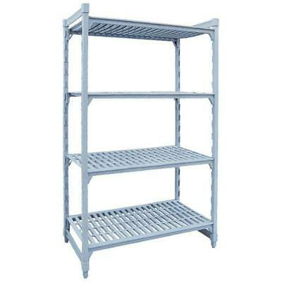 Shelving Kit with Vented Shelves, 4 Tier, Poly Coated Steel, 1220x455x1800mm