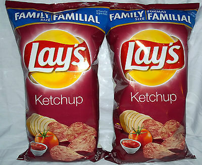New LAYS KETCHUP CHIPS FAMILY SIZE 255 GRAMS (2) LOT 2 *FRESH* FROM CANADA