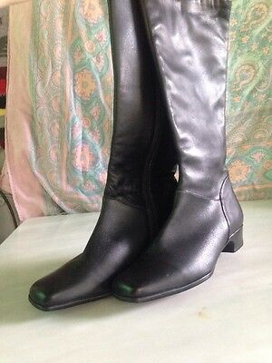 Vigotti Black Leather Knee High Boots Zip Up Women's Size 9.5 W