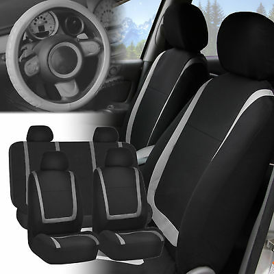 Car Seat Covers for Auto Gray Black Full Set w/Gray Leather Steering Wheel