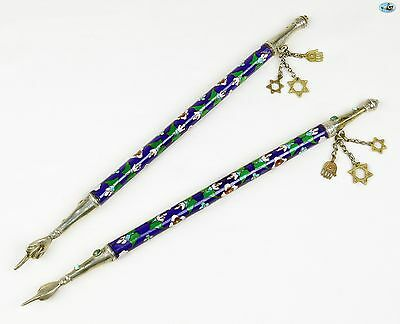 Fine Antique Pair of 19th C. Silver & Enamel Torah Pointers Yad Eastern Europe