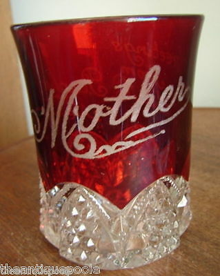 c1885-1906 Ruby Stained Button Arches Pattern Glass Tumbler To Mother frm Arthur